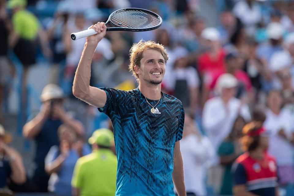 Alexander Zverev celebrates after winning the men's singles title at the Western and Southern Open in Mason, Ohio on Aug 22, 2021.