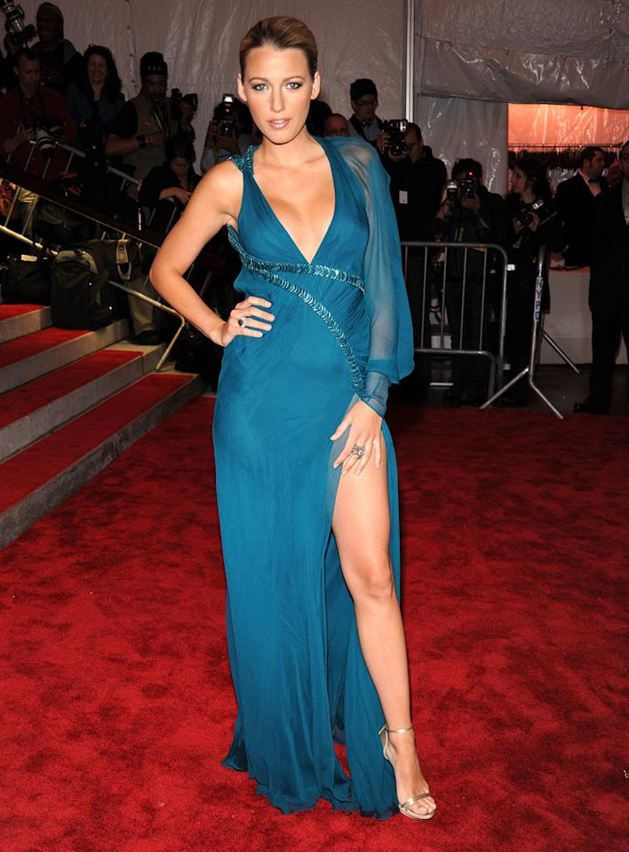 "The daring slit in Blake Lively's teal gown from Versace's Spring/Summer collection allowed her to show off her gorgeous gams. Kevin Mazur/<a href=""http://www.wireimage.com"" target=""new"">WireImage.com</a> - May 4, 2009"