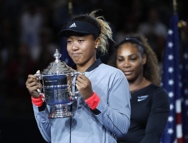 Naomi Osaka already beat Serena Williams on the tennis court. Now, she's winning at the bank. (AP Photo/Adam Hunger)