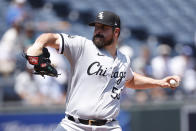 Chicago White Sox pitcher Carlos Rodon delivers to a Kansas City Royals batter during the first inning of a baseball game at Kauffman Stadium in Kansas City, Mo., Thursday, July 29, 2021. (AP Photo/Colin E. Braley)