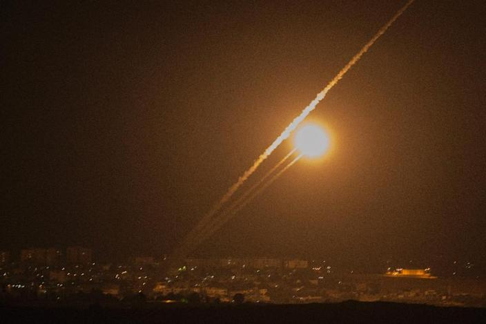 A rocket is launched from the Gaza strip towards Israel on July 12, 2014 (AFP Photo/Jack Guez)
