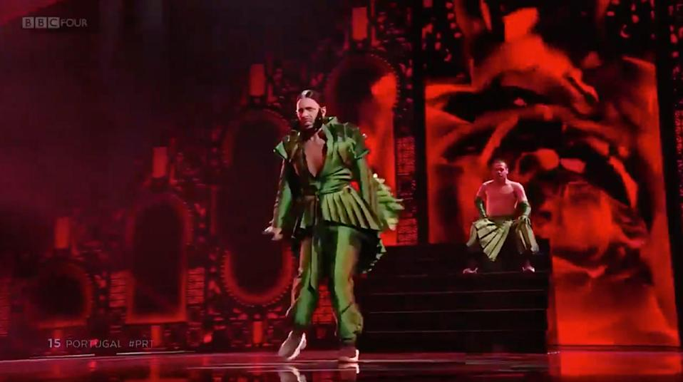 Portugal performing in the Eurovision 2019 semi-final (BBC Four)