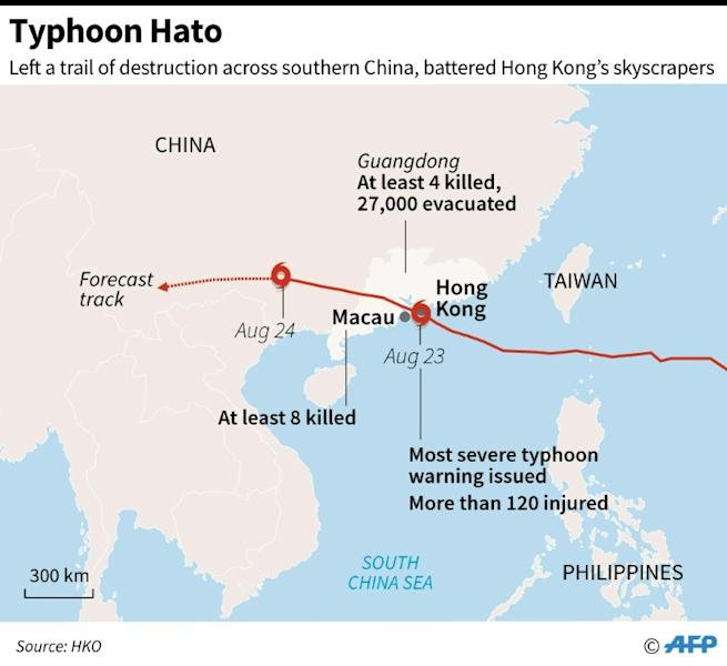 Updated map showing the path of Typhoon Hato, which left a trail of destruction across southern China and battered Hong Kong's skyscrapers