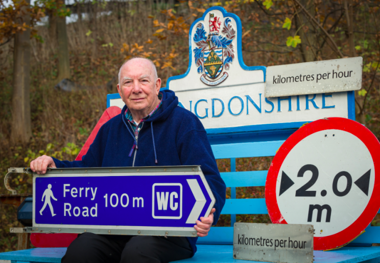 Removal: Mr Norman spends his time taking down the metric road signs and dumping them (SWNS)