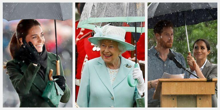 <p>It rains everywhere—but in the UK, it rains <em>a lot</em>. So it only makes sense that members of the British royal family have had more than enough experiences with dreary weather, and seem ever-prepared with the perfect umbrella. They're so taken with the handy devices that they'll sometimes even select a stylish parasol over the standard sunscreen. Here, dozens of great photos documenting the royals' umbrella-centric exploits.</p>