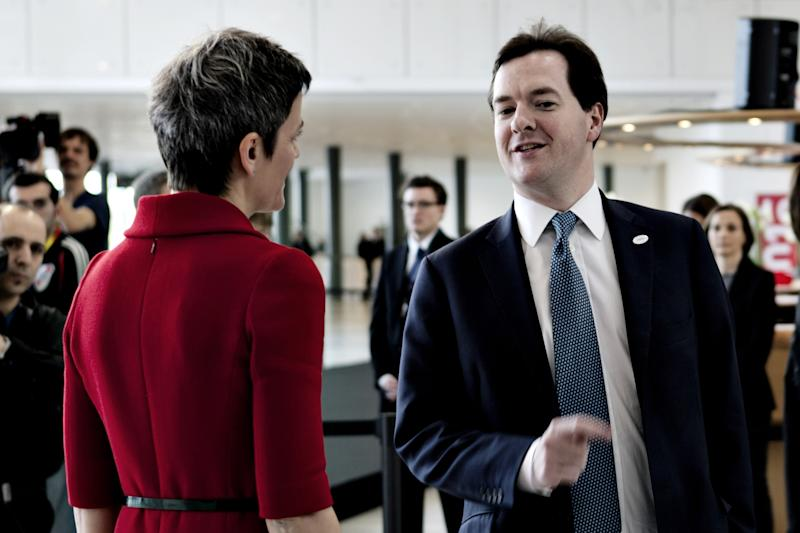 Danish Minister of Economics Margrethe Vestager talks to Britain's Chancellor of Exchequer George Osborne, right, during the informal EU-meeting for EU finance ministers, the ECOFIN Meeting, in Copenhagen, Denmark Friday, March 30, 2012. (AP Photo/Gregers Tycho, POLFOTO) DENMARK OUT