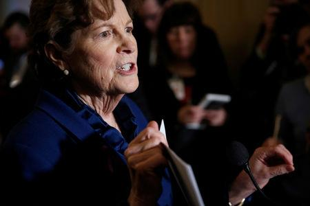 Senator Jeanne Shaheen (D-NH) speaks about U.S. President Donald Trump's decision not to impose sanctions on Russia during a media briefing on Capitol Hill in Washington