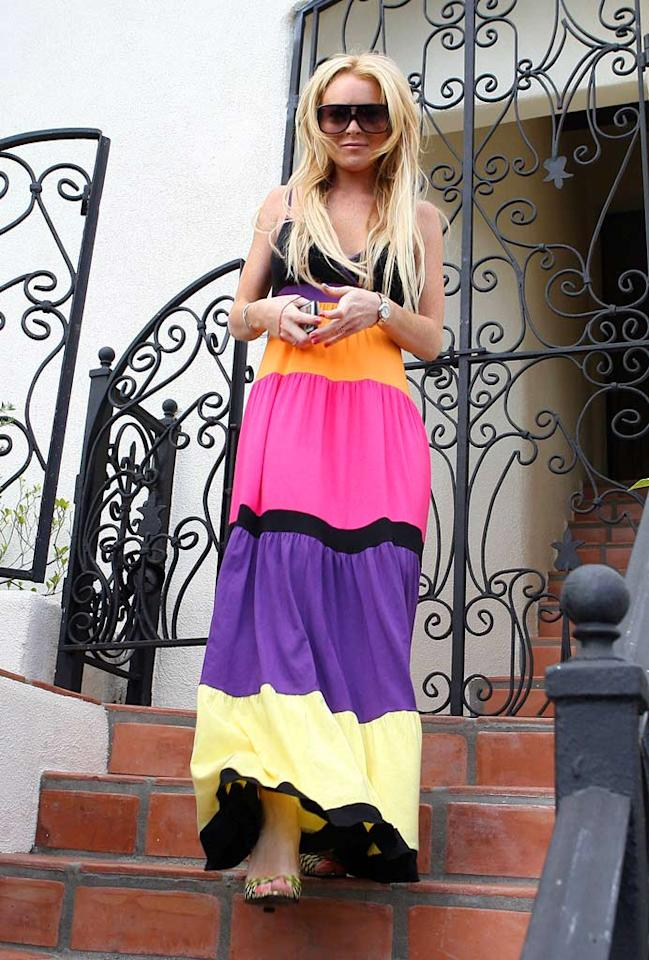 """You can't miss Lindsay Lohan in her multi-colored frock. Lins/<a href=""""http://www.x17online.com"""" target=""""new"""">X17 Online</a> - July 21, 2007"""