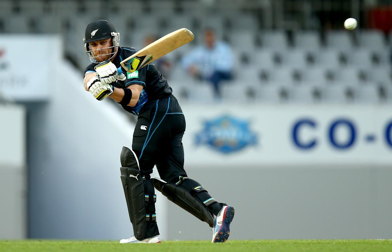 AUCKLAND, NEW ZEALAND - JANUARY 11:  Brendon McCullum of New Zealand bats during the first T20 between New Zealand and the West Indies at Eden Park on January 11, 2014 in Auckland, New Zealand.  (Photo by Phil Walter/Getty Images)