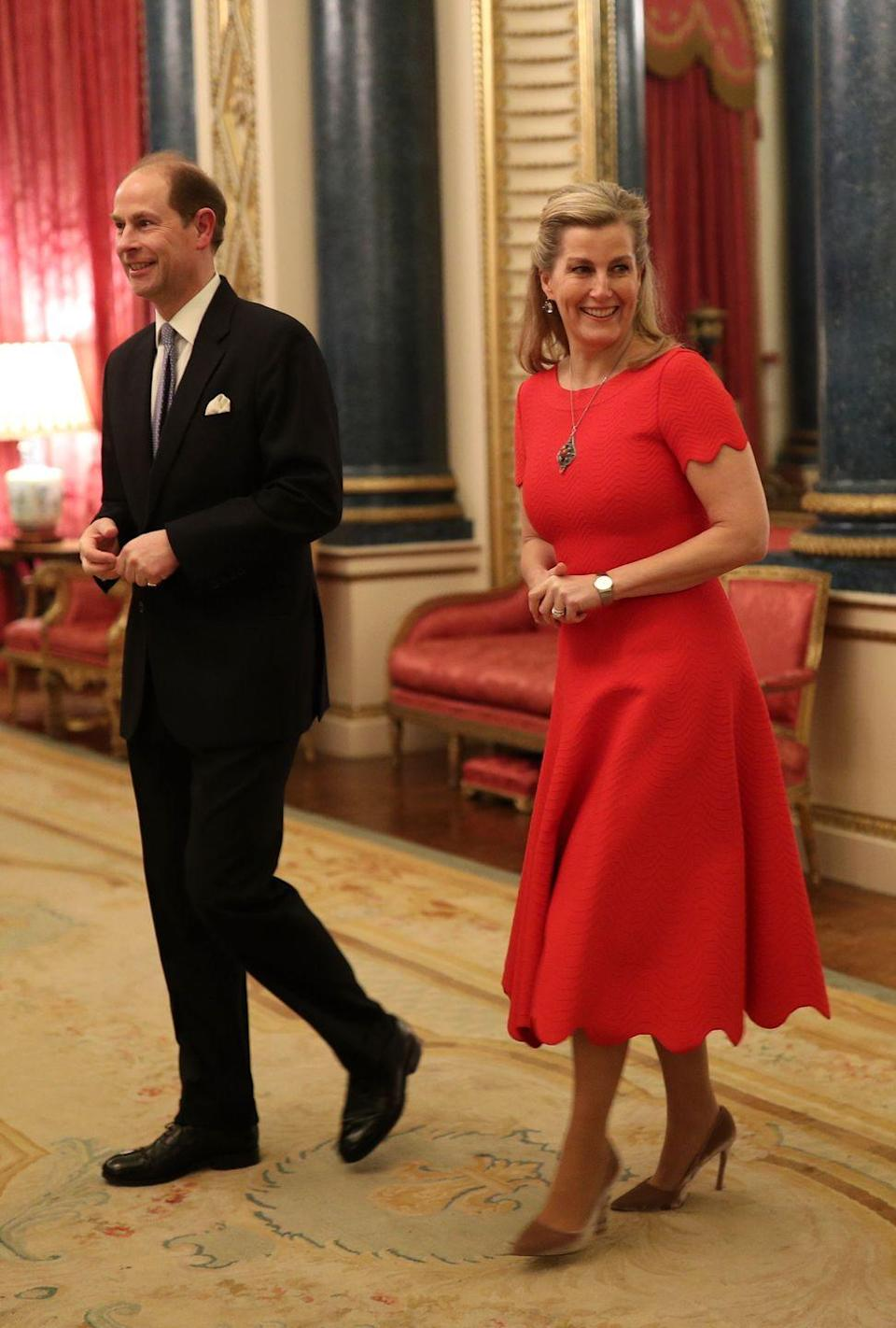 <p>Sophie celebrated her birthday by wearing a bold red dress to a Buckingham Palace reception.</p>