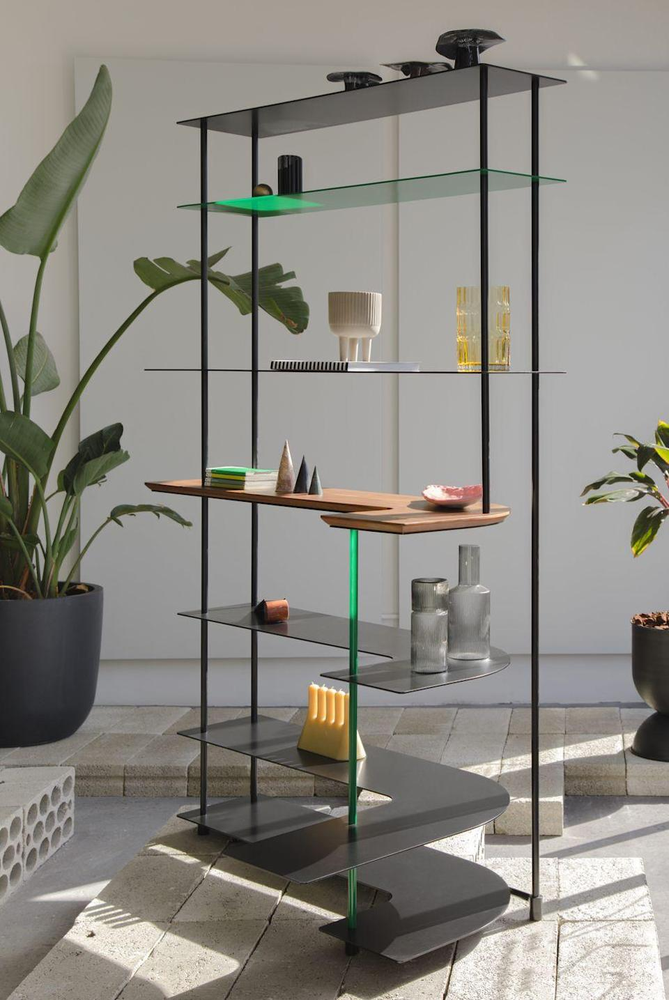 """<p>The latest series by Beirut-based design studio Borgi Bastormagi rethinks the corner in a bid to 'utilise those tricky spots that are forgotten and wasted in a home'. Its 'Shaping 90' collection aims to enhance dead spaces via three corner hugging pieces intended for daily use, including the 'Fillet' steel and walnut shelving unit. £1,765, <a href=""""https://www.borgibastormagi.com/"""" rel=""""nofollow noopener"""" target=""""_blank"""" data-ylk=""""slk:borgibastormagi.com"""" class=""""link rapid-noclick-resp"""">borgibastormagi.com</a></p>"""