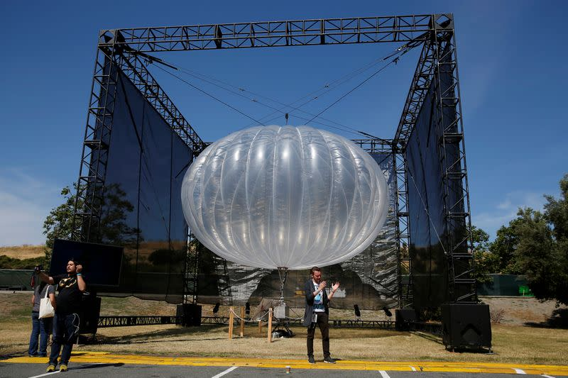 A Google Project Loon internet balloon is seen at the Google I/O 2016 developers conference in Mountain View