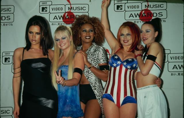 From left: Victoria Beckham, Emma Bunton, Melanie Brown, Geri Halliwell, and Melanie Chisholm make the scene at the 1997 MTV VMAs. (Photo: The Life Picture Collection/Getty Images)