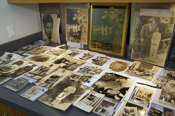 FILE - In this Aug. 25, 2021 file photo, a collection of photographs from the estate of mob boss Al Capone is displayed at Witherell's Auction House in Sacramento, Calif. The infamous Chicago gangster may have died nearly 75 years ago, but it's clear interest in him is very much alive after some of his prized possessions were auctioned off over the weekend for at least $3 million. (AP Photo/Rich Pedroncelli, File)