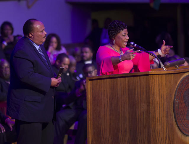 "<p>Martin Luther King III (L) and his sister Bernice King address the I AM 2018 ""Mountaintop Speech"" Commemoration at the Mason Temple Church of God in Christ, the same place their father, Martin Luther King, Jr., delivered his ""Mountaintop"" speech on the eve of his assassination, April 3, 2018 in Memphis, Tennessee. The city is commemorating the 50th anniversary of King's assassination on April 4, 1968. (Photo: Joe Raedle/Getty Images) </p>"