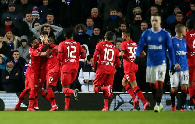 Rangers will need to overturn a 3-1 deficit against Bayer Leverkusen is they are to progress in the Europa League (Andrew Milligan/PA)