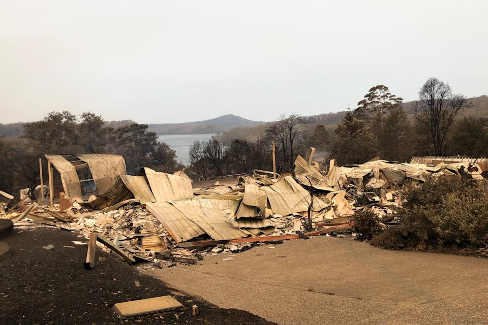 A property impacted by the Currowan Fire in Conjola Park shown in January.