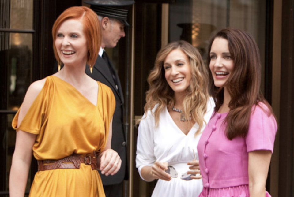 From left to right, Cyntha Nixon as Miranda Hobbes, Sarah Jessica Parker as Carrie Bradshaw and Kristin Davis as Charlotte York Goldenblatt in a scene from the HBO hit comedy,