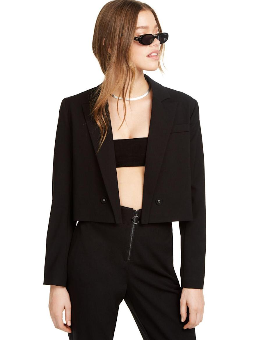 """<p><strong>Danielle Bernstein</strong></p><p>macys.com</p><p><strong>$35.64</strong></p><p><a href=""""https://go.redirectingat.com?id=74968X1596630&url=https%3A%2F%2Fwww.macys.com%2Fshop%2Fproduct%2Fdanielle-bernstein-cropped-blazer-created-for-macys%3FID%3D10510163&sref=https%3A%2F%2Fwww.cosmopolitan.com%2Fstyle-beauty%2Ffashion%2Fg30933395%2Ffall-fashion-trends-2020%2F"""" rel=""""nofollow noopener"""" target=""""_blank"""" data-ylk=""""slk:Shop Now"""" class=""""link rapid-noclick-resp"""">Shop Now</a></p><p>Wear this sexy one open with a bra top. We'll get to that trend later on.</p>"""