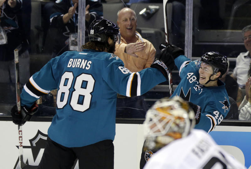San Jose Sharks center Tomas Hertl (48) celebrates his goal with teammate Brent Burns (88) during the first period of a preseason NHL hockey game against the Anaheim Ducks on Friday, Sept. 20, 2013, in San Jose, Calif. (AP Photo/Marcio Jose Sanchez)