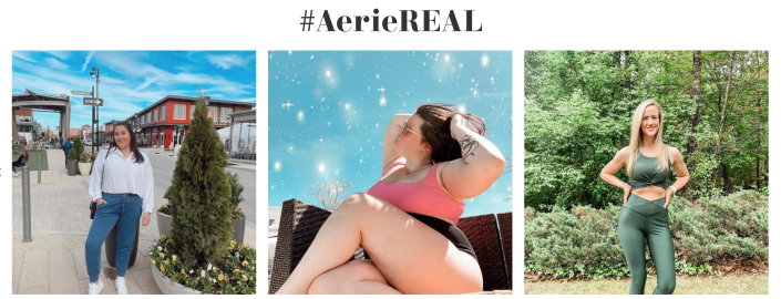 A peek at the #AerieReal gallery on Aerie's website.