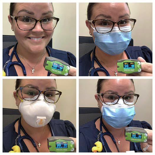 "Dr. Megan Hall's post on Facebook went viral after publishing photos that showed her oxygen saturation levels remained consistent no matter what type of face mask she wore. The pediatrician hopes that the public and officials have a ""change of heart"" about face coverings. <span class=""copyright"">(Dr. Megan Hall)</span>"