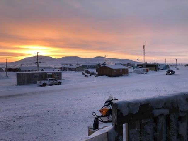 A view of a street in Ulukhaktok, N.W.T. Internet has been restored in the community after nearly eight days of spotty service. (Mackenzie Scott/CBC - image credit)
