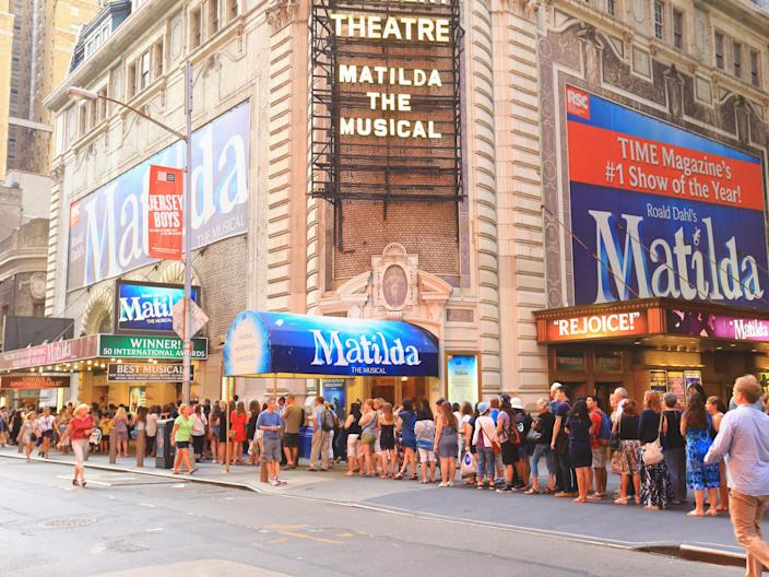 Broadway theater play lines crowds
