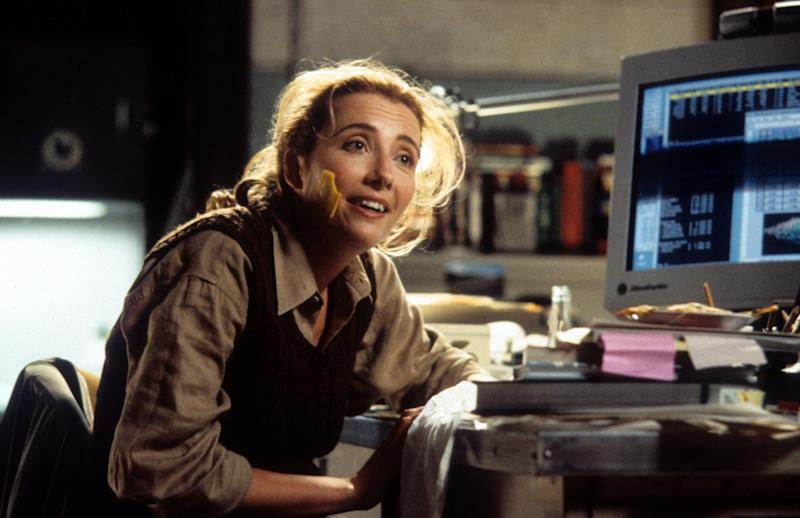 """Junior"" provides two Emma Thompson rarities: a broad studio comedy and an imperfect ponytail that's let loose when she needs to gussy up. Playing an ungainly scientist, she elevates the male-pregnancy spectacle's watery script with note-perfect timing that resembles Lucille Ball. Her plait bobbing to and fro boosts the delight factor."