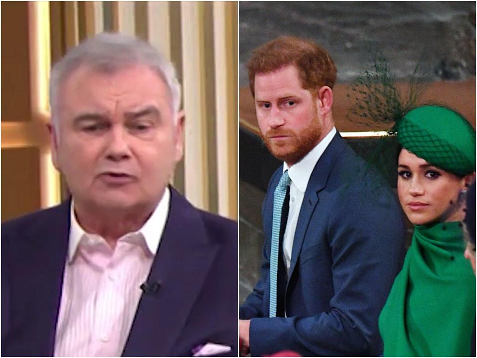 (Left) Eamonn Holmes, speaking on This Morning, and (right) Prince Harry and Meghan Markle (ITV/Getty)