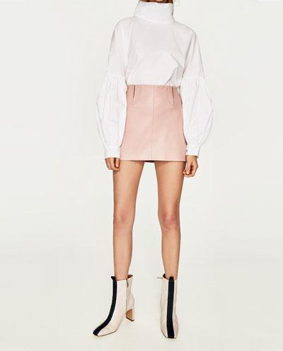 "Leather Effect Mini Skirt, $29.90; at <a rel=""nofollow"" href=""https://www.zara.com/us/en/woman/skirts/view-all/leather-effect-mini-skirt-c719016p4335569.html"">Zara</a>"
