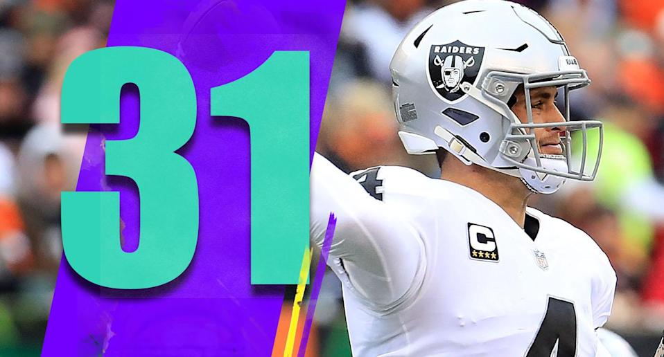 <p>Did you know Derek Carr hasn't thrown an interception since Oct. 7? Over Carr's past nine games: 194-of-293, 2,056 yards, 12 touchdowns, no interceptions, 100.1 rating. (Derek Carr) </p>