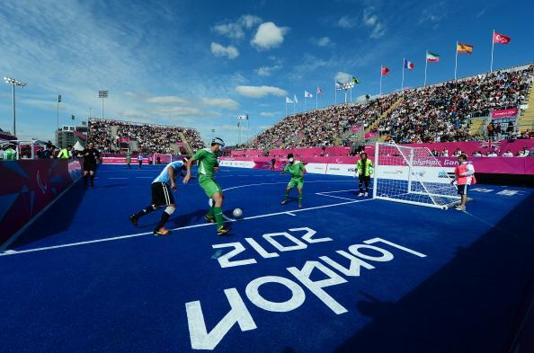 A general view during the Men's Team Football 5-a-side match between Argentina and Iran on Day 2 of the London 2012 Paralympic Games at the Riverbank Arena in the Olympic Park on August 31, 2012 in London, England. Argentina won the match 2-0. (Photo by Justin Setterfield/Getty Images)