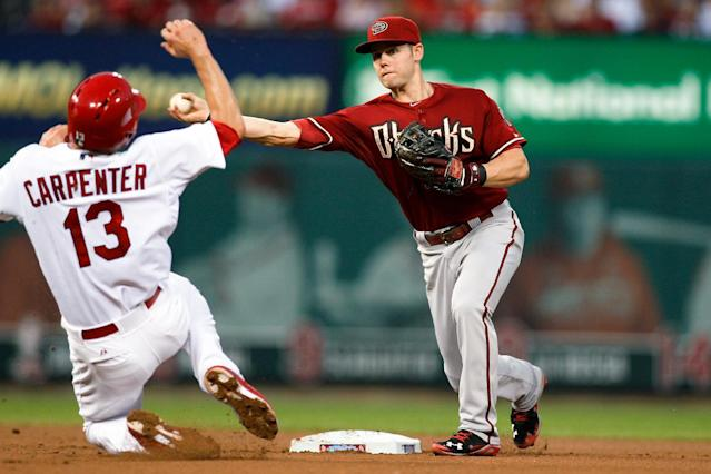 Arizona Diamondbacks shortstop Chris Owings, right, throws to first base for a double play after making an out against St. Louis Cardinals' Matt Carpenter during the third inning of a baseball game Wednesday, May 21, 2014, in St. Louis. Kolten Wong was out at first. (AP Photo/Scott Kane)