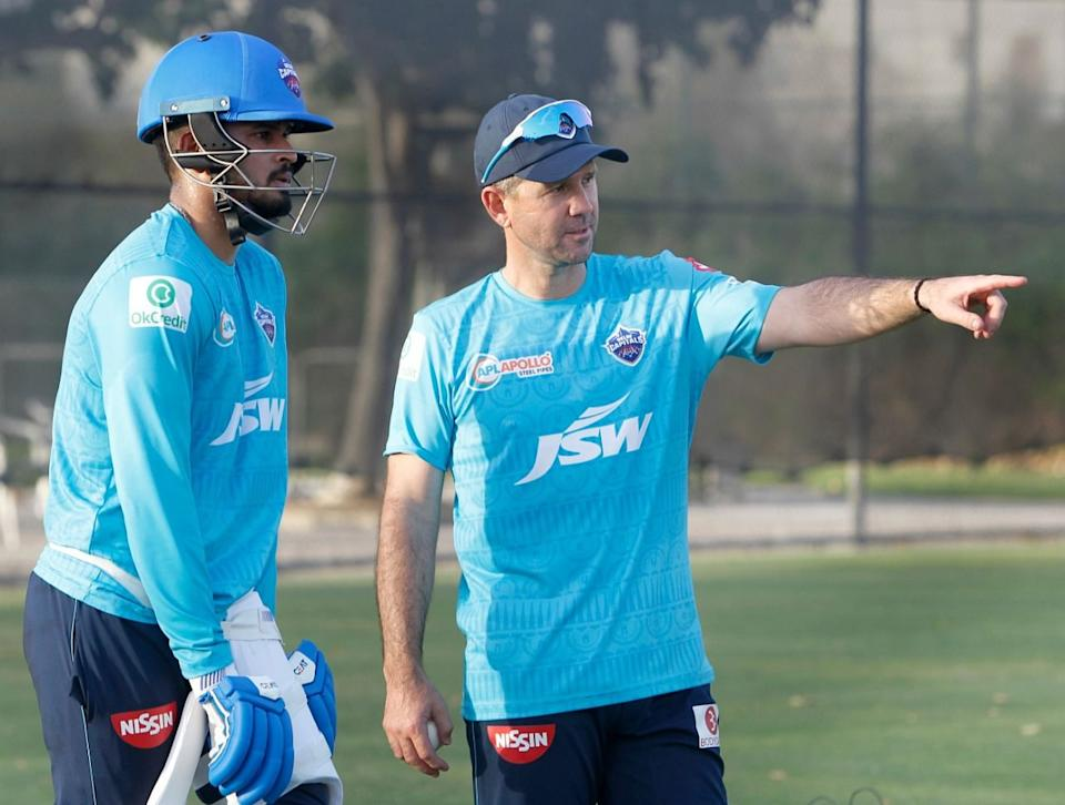 Delhi Capitals captain Shreyas Iyer and coach Ricky Ponting.