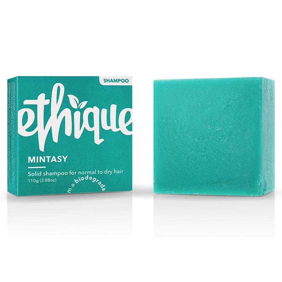 <p>Just one bar of <span>Ethique Solid Shampoo Bar In Mintasy</span> ($16) is the equivalent of three (count 'em!) bottles of shampoo, meaning that switching from your regular shampoo to this will save about a liter of water.</p>