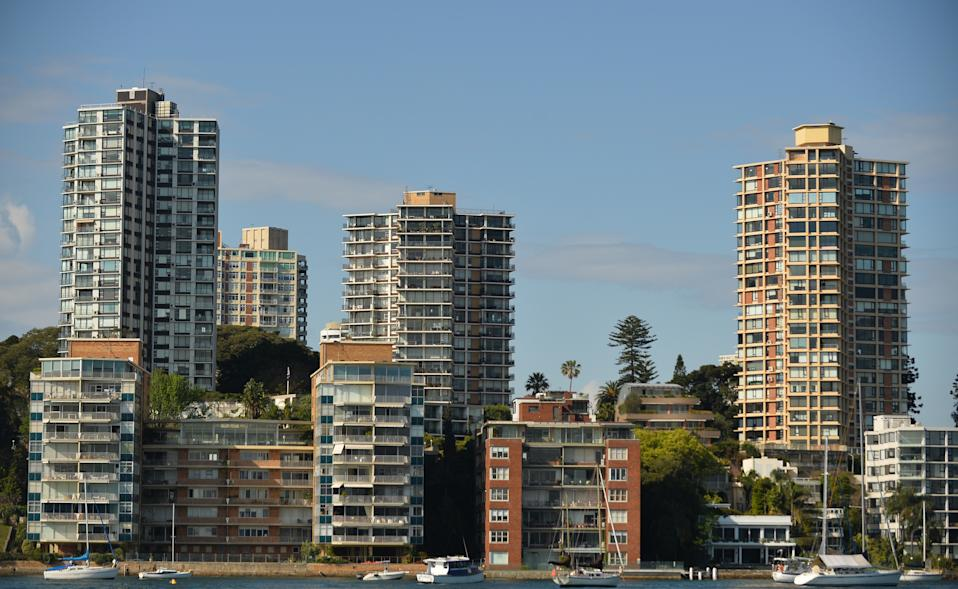 This general view shows residential property along the harbourfront in Sydney on September 17, 2015.