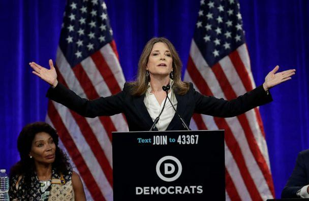 PHOTO: Marianne Williamson, 2020 Democratic presidential hopeful, gestures while speaking at the Democratic National Committee's summer meeting, Aug. 23, 2019, in San Francisco. (Ben Margot/AP, FILE)