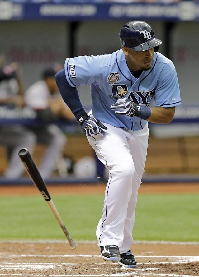 Tampa Bay Rays' Desmond Jennings flips his bat after hitting a two-run double off Boston Red Sox starting pitcher Allen Webster during the third inning of a baseball game Sunday, July 27, 2014, in St. Petersburg, Fla. Rays' Curt Casali and Kevin Kiermaier scored on the hit. (AP Photo/Chris O'Meara)