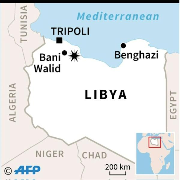 Map locating Bani Walid in Libya where many migrants travelling in a truck were killed in a crash