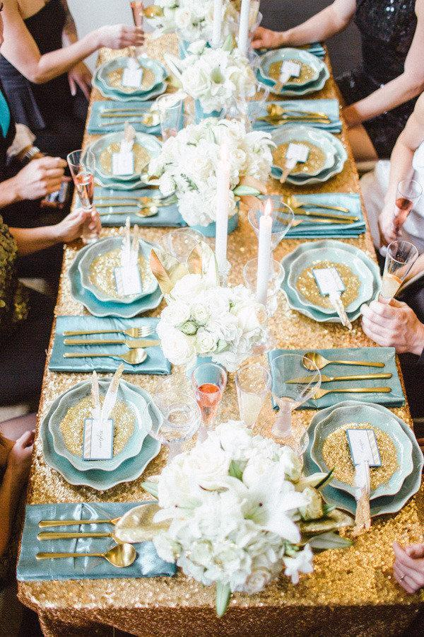 """<p>Turquoise is a youthful, unexpected burst of color - so try it out! Here, it sweeps a New Year's Eve dinner from <a rel=""""nofollow noopener"""" href=""""http://www.stylemepretty.com/vault/image/841316"""" target=""""_blank"""" data-ylk=""""slk:Style Me Pretty Living"""" class=""""link rapid-noclick-resp"""">Style Me Pretty Living</a> with a sense of twinkling optimism for the upcoming year. </p>"""