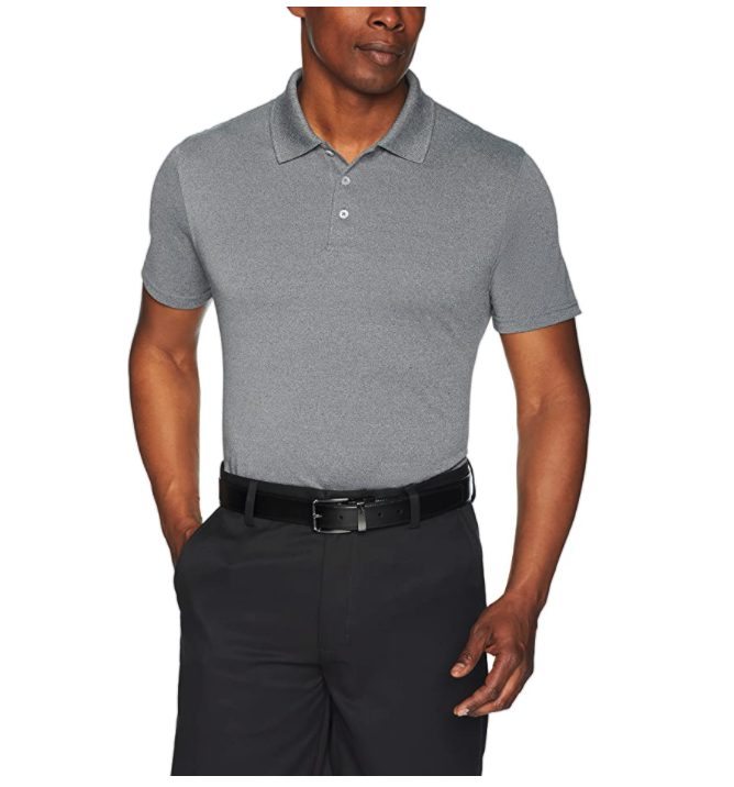 This polo shirt has a flattering slim fit for everyday wear. Image via Amazon.