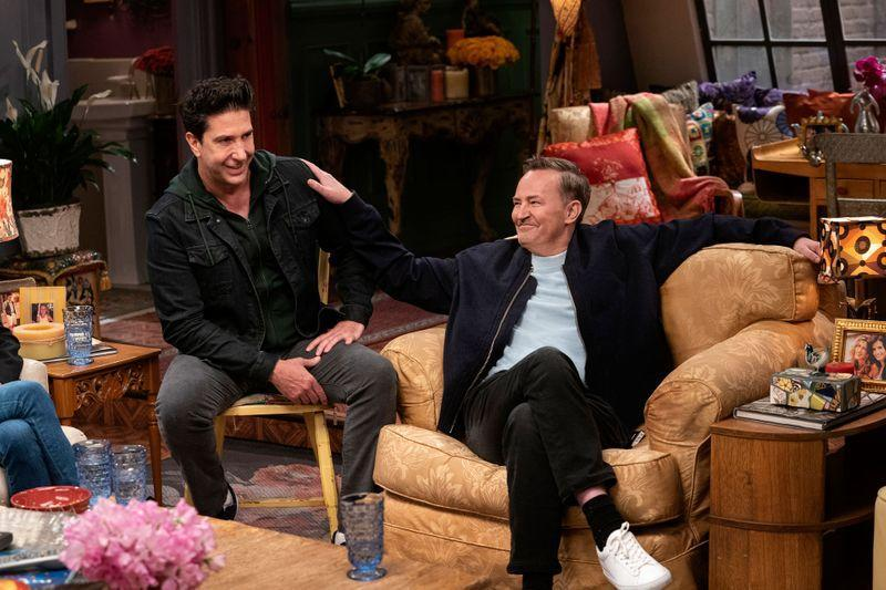 """David Schwimmer and Matthew Perry are seen during the """"Friends"""" reunion"""