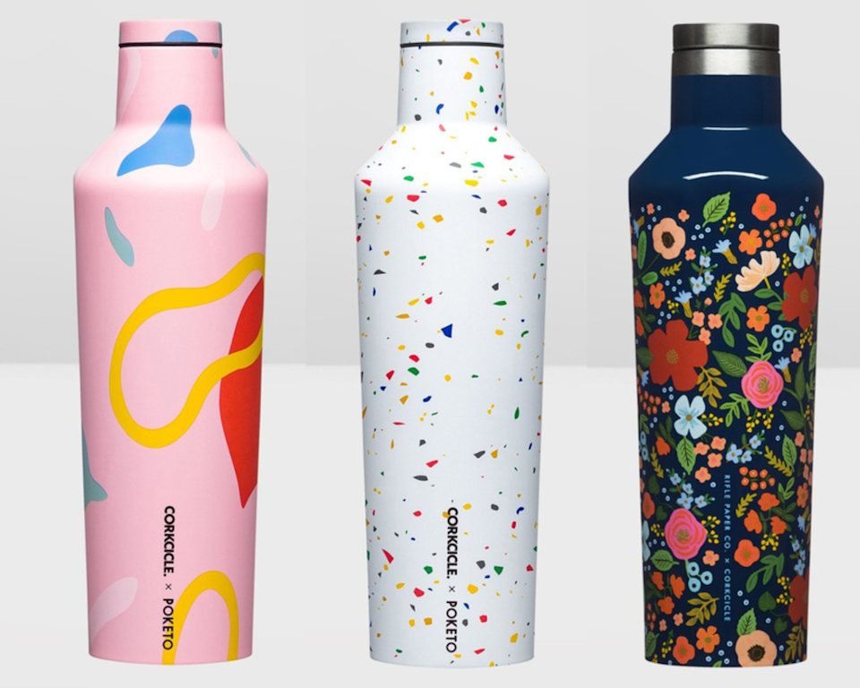 set of three printed Corkcicle reusable drink bottles