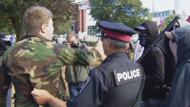 Assault charge laid after violence erupts at Peterborough anti-racism rally