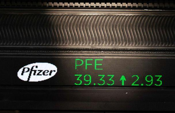 PHOTO: A stock ticker with Pfizer stock information is shown at the New York Stock Exchange,Nov. 9, 2020. (Mark Lennihan/AP)