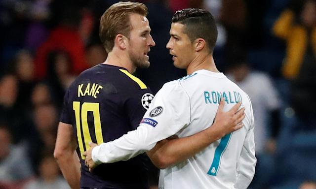 Harry Kane and Cristiano Ronaldo embrace after the 1-1 draw between Real Madrid and Tottenham at the Bernabéu