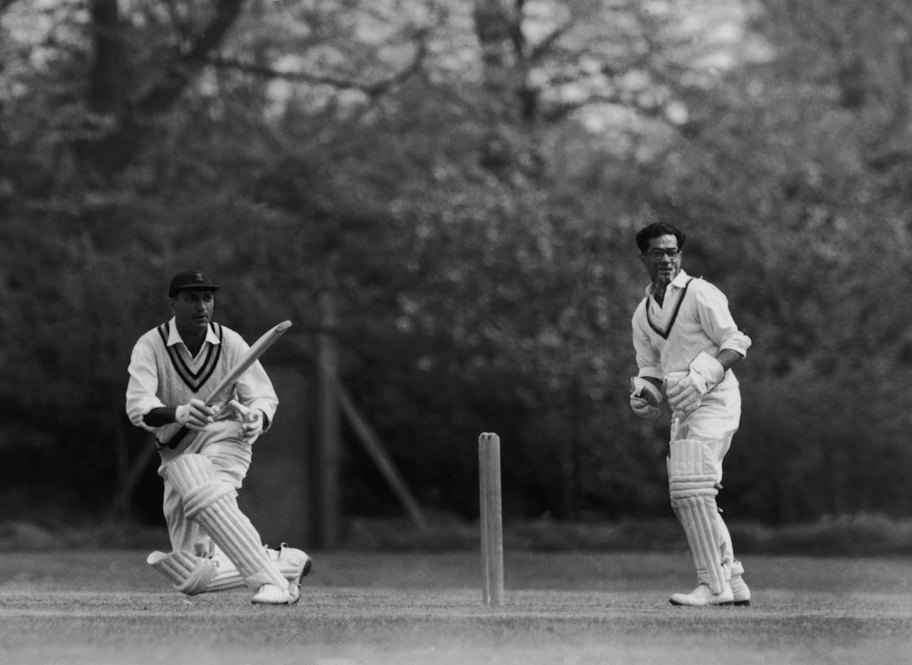 Indian cricketer Polly Umrigar (1926 - 2006) batting during a practice session for the Indian team at Osterley, Middlesex 23rd April 1959. (Photo by William Vanderson/Fox Photos/Hulton Archive/Getty Images)