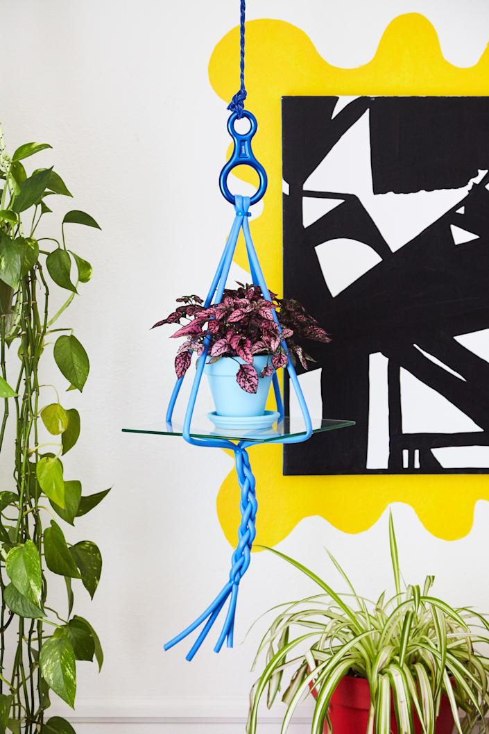 Leah's planter from Body Language Shop, a project by Jackie Zdrojeski, is made from braided silicone and zip ties.