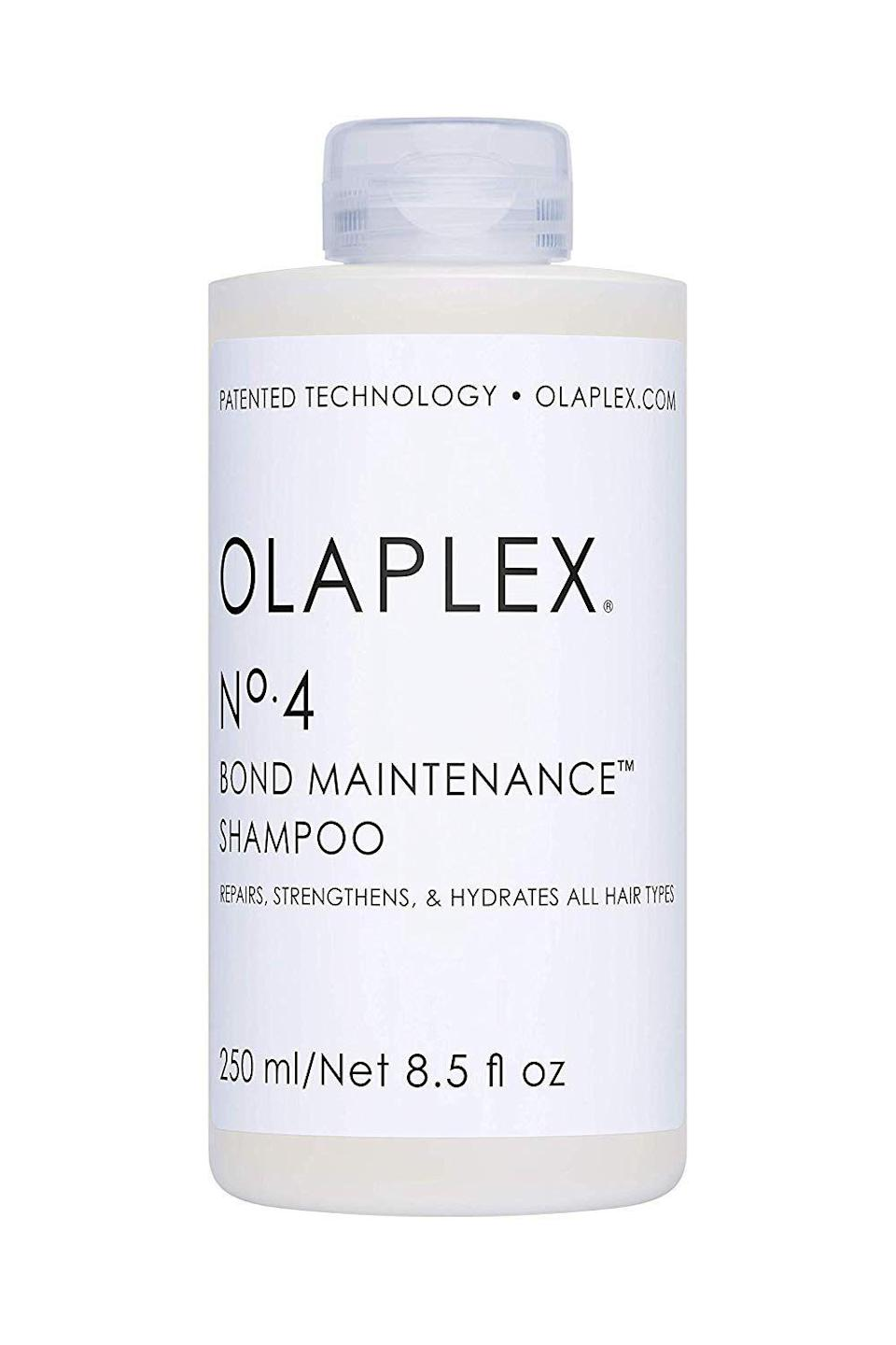 """<p><strong>Olaplex</strong></p><p>sephora.com</p><p><strong>$14.00</strong></p><p><a href=""""https://go.redirectingat.com?id=74968X1596630&url=https%3A%2F%2Fwww.sephora.com%2Fproduct%2Fno-4-bond-maintenance-shampoo-P433172&sref=https%3A%2F%2Fwww.cosmopolitan.com%2Fstyle-beauty%2Fbeauty%2Fg20874938%2Fbest-shampoo-dry-damaged-hair%2F"""" rel=""""nofollow noopener"""" target=""""_blank"""" data-ylk=""""slk:Shop Now"""" class=""""link rapid-noclick-resp"""">Shop Now</a></p><p>There's a reason why every colorist/stylist loves this <a href=""""https://www.cosmopolitan.com/style-beauty/beauty/g2149/best-shampoo-conditioner/"""" rel=""""nofollow noopener"""" target=""""_blank"""" data-ylk=""""slk:shampoo"""" class=""""link rapid-noclick-resp"""">shampoo</a> for super-damaged hair: It <strong>uses a</strong> <strong>patented molecule to rebuild broken hair bonds</strong> (an inevitable side effect of bleaching and chemical treatments) to give you stronger hair that retains more moisture. It's the closet thing to a second chance for your hair.</p>"""